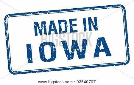 Made In Iowa Blue Square Isolated Stamp