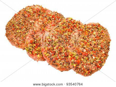 Raw Peppered Beef Grill Steaks