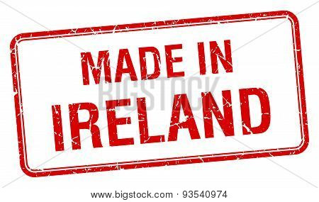 Made In Ireland Red Square Isolated Stamp