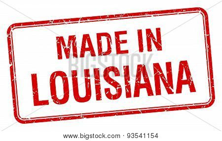 Made In Louisiana Red Square Isolated Stamp
