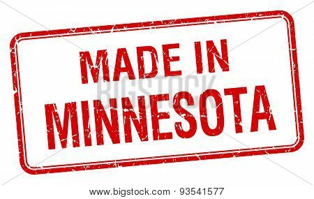 Made In Minnesota Red Square Isolated Stamp