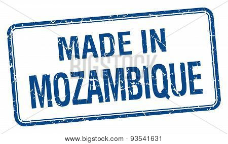 Made In Mozambique Blue Square Isolated Stamp
