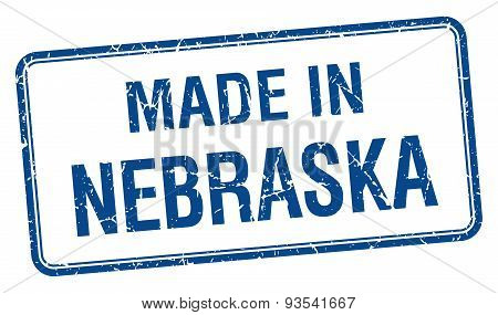 Made In Nebraska Blue Square Isolated Stamp