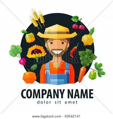 farmer, fruiterer vector logo design template. fresh food or fruits and vegetables icon. flat illust