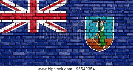 Flag Of Montserrat Painted On Brick Wall