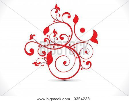 Abstract Artistic Red Floral Om Text