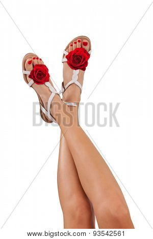 Perfect female legs with rose summer sandals, isolated on white background