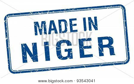 Made In Niger Blue Square Isolated Stamp