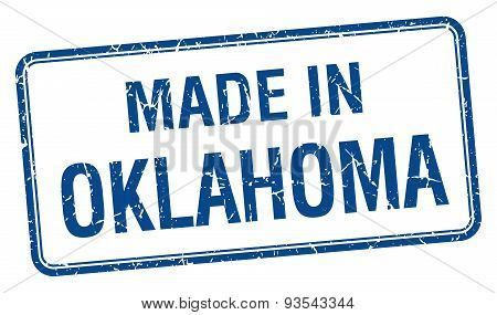 Made In Oklahoma Blue Square Isolated Stamp