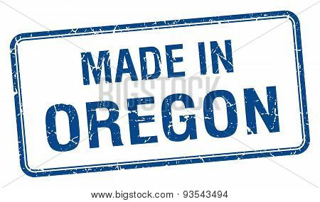 Made In Oregon Blue Square Isolated Stamp
