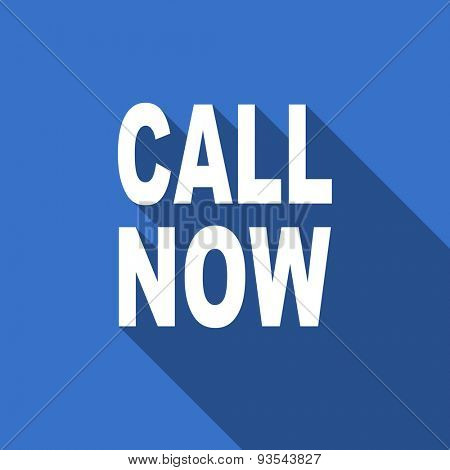 call now modern flat icon with long shadow