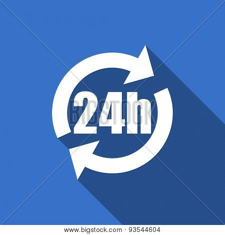24h modern flat icon with long shadow