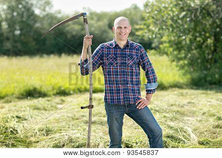 Man on  haymaking