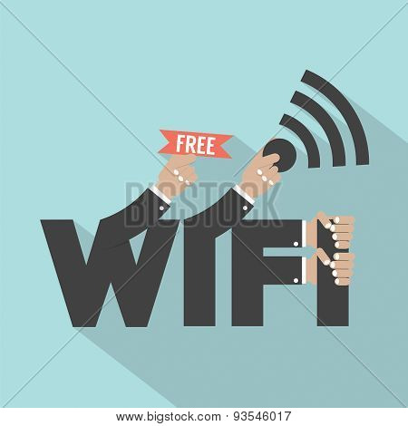 Free Wifi Typography Design.