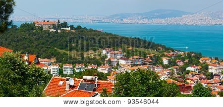 Panoramic view of Bosphorus channel. Turkey