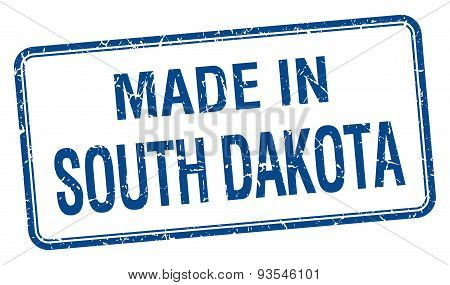 Made In South Dakota Blue Square Isolated Stamp