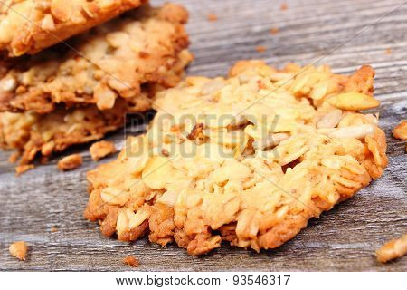 Oatmeal Cookies On Wooden Background