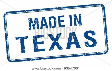 Made In Texas Blue Square Isolated Stamp