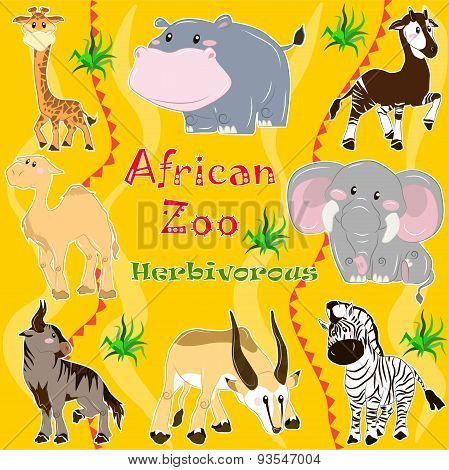 African zoo. Herbivorous animals.