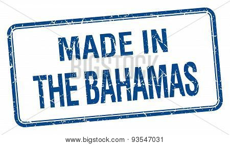 Made In The Bahamas Blue Square Isolated Stamp