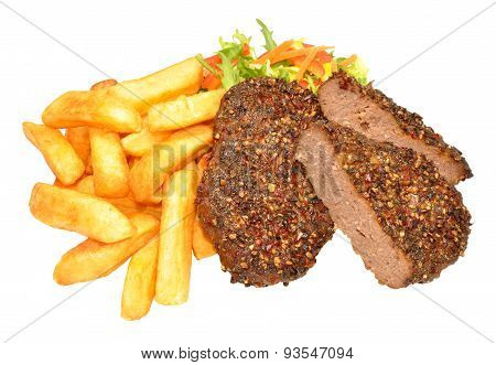 Peppered Beef Grill Steaks And Chips Meal