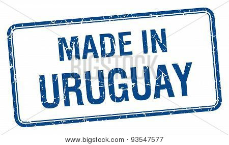 Made In Uruguay Blue Square Isolated Stamp