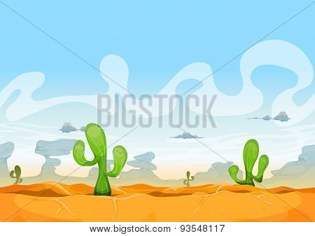 Seamless Western Desert Landscape For Ui Game