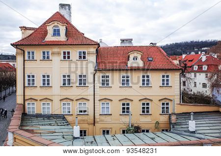 PRAGUE, CZECH REPUBLIC - DEC 23 : Beautiful street view of Traditional old buildings in Prague, Czech Republic. DEC 23, 2014 in PRAGUE