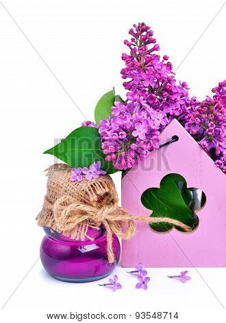 Lilac Flower Twig In Decoration Box With Shower Gel