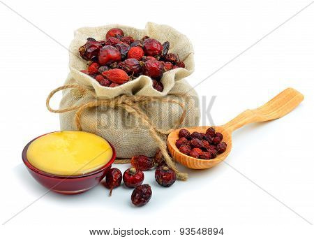Dog Rose In The Sack With Honey Isolated On White