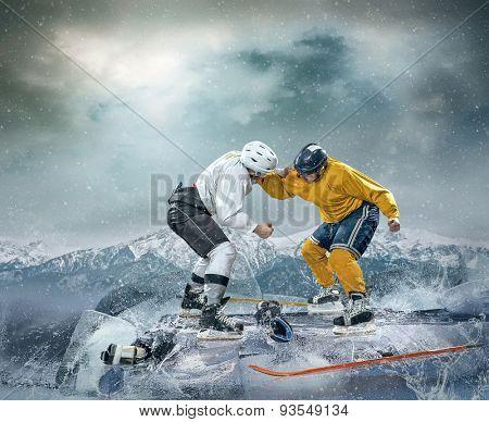 Ice hockey players on the ice in box drama.