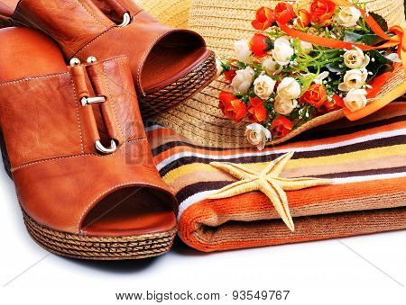 Woman Shoes Decorated With Starfish, Towels, Beach Hat