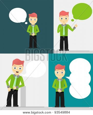 Set of young businessmen with speech bubbles. Talking, thinking concept.