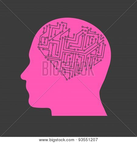 Electric Heart In Pink Head Technical Research Design Banner And Background Eps10