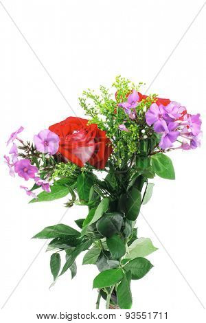 flowers : big bouquet of rose and pansy flowers with green grass isolated over white background