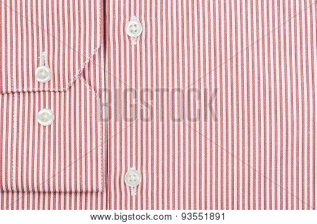 Buttons On Man's Striped Red Shirt