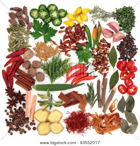 Large herb and spice selection over white background.