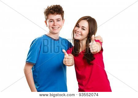 Teenage girl and boy showing OK sign isolated on white background