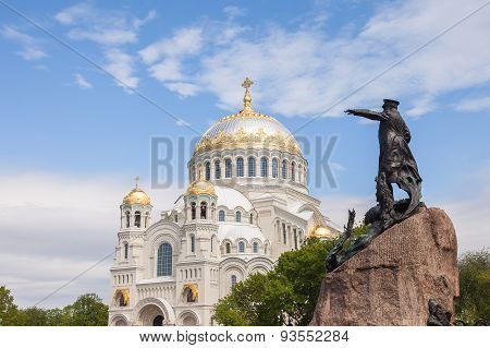 Naval Cathedral And The Monument To Vice-admiral Makarov In Kronstadt, St. Petersburg