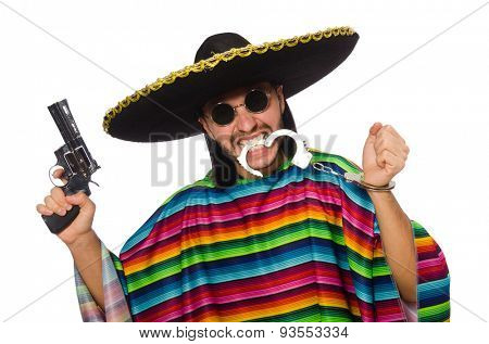 Mexican in vivid poncho holding gun isolated on white