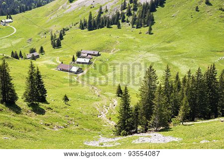 Landscape With Huts Jaegerkamp Bavaria Alps