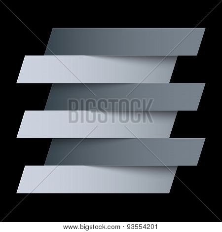 Infographics white and grey paper rectangle banners with shadows on black background