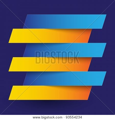 Infographics blue and orange paper rectangle banners with shadows