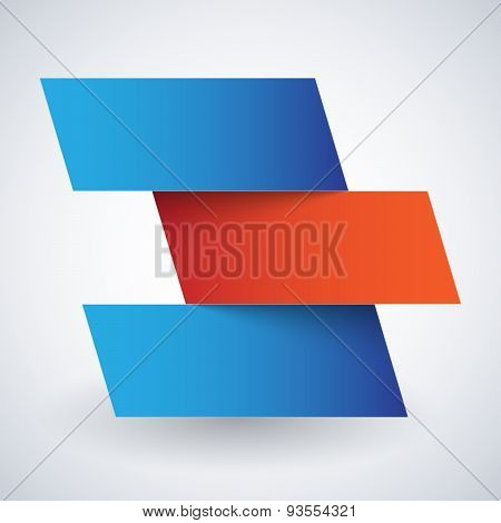Infographics blue and red paper rectangle banners with shadows on white background