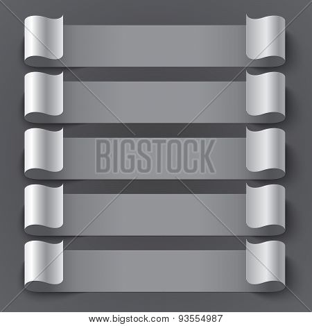 Curled blank paper stripe banners with shadows on gray backgroun