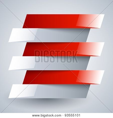 Infographics shiny white and red metallic rectangle banners with