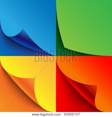 Set of curled colorful paper page corners with realistic shadows