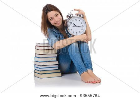 Student girl trying to meet her studying deadlines