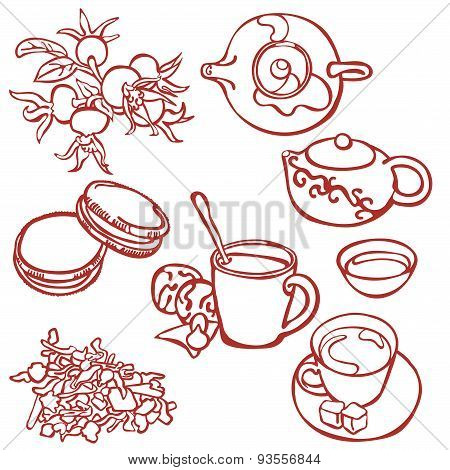 Tea ceremony. Tea. Tea time. Vector illustration.
