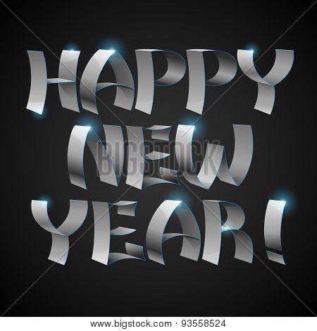 Isolated shiny metallic ribbons Happy New Year text on black background